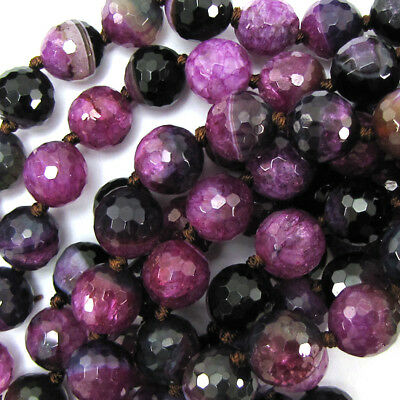 12mm faceted black pink agate round beads 14