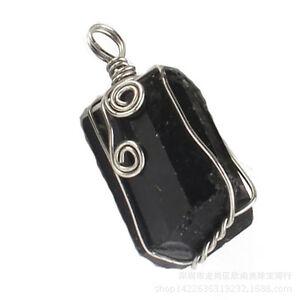 Natural Druzy Black Tourmaline Wicca Reiki Wire Wrapped Gemstone Pendant Jewelry