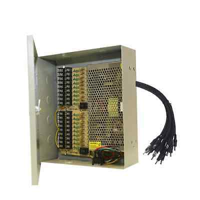 16 CH Power Supply CCTV Camera 18 Port 12V DC+Pigtail Auto Reset Cctv Dc Power Pigtail