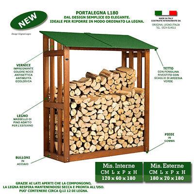 Portalegna L180 in legno legnaia in legna per camino carrello legna da ardere