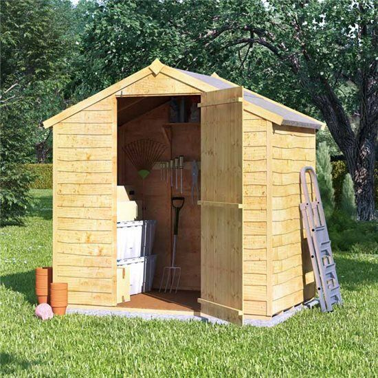 big outdoor storage shed tool bike wood garden storer patio apex roof timber 4x6 - Garden Sheds 6x4