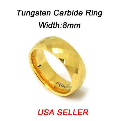 - New!Tungsten Diamond Cut IP Gold Ring Wedding Band Comfort Fit 8MM Mens Jewelry
