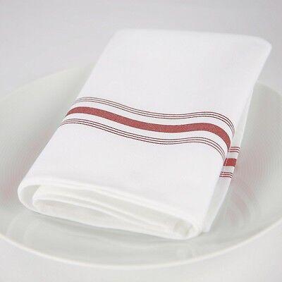Red Dinner Napkins (12 bistro red stripe restaurant dinner  napkins catering wedding event)