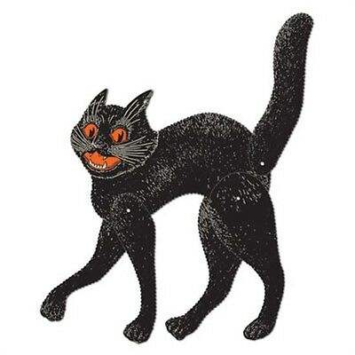 *RETRO Halloween JOINTED SCRATCH CAT Decoration*VTG Beistle 1928*