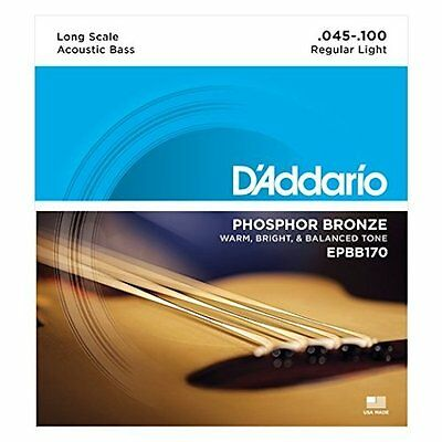 - D'ADDARIO EPBB170 PHOSPHOR BRONZE ACOUSTIC BASS STRINGS, MEDIUM GAUGE 4's 45-100