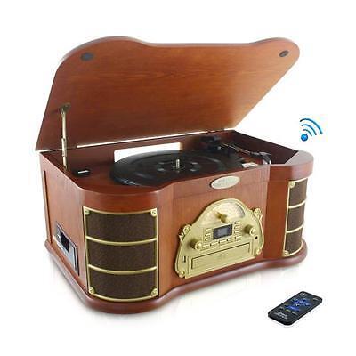 Pyle PTCD54UB Bluetooth Vintage Classic Style Turntable w/ Radio, CD & Cassette