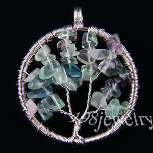 tree of life-Fluorite Wire Wrap Pendant Bead 1Pcs TK656