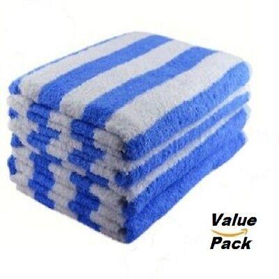 4 NEW WHITE/ BLUE COTTON HOTEL  30X60 CABANA TOWELS POOL TOWEL BEACH TOWEL 10#