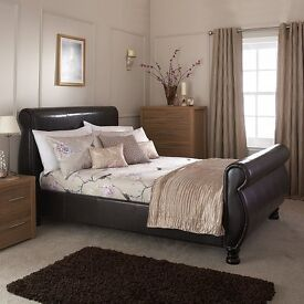BRAND NEW LARSON DOUBLE / KINGSIZE SLEIGH LEATHER WOODEN BED WITH QUALITY MATTRESS EXPRESS DELIVERY