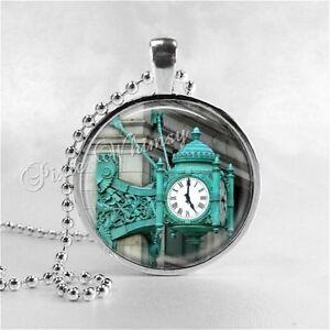 MARSHALL FIELDS Clock, Chicago IL Illinois Landmark Glass Handmade Art Necklace