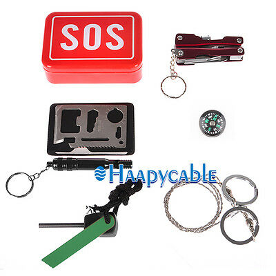 New SOS Self Help Outdoor Camping Hiking Survival Emergency Gear Tools Box Kit