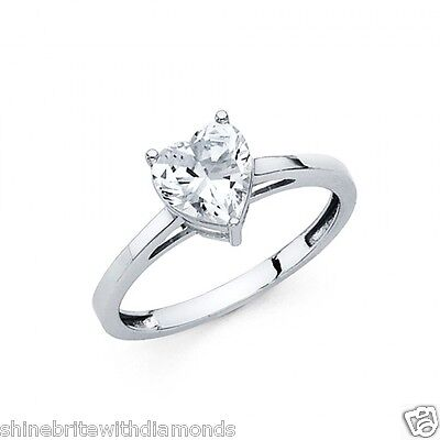 1 Ct Heart Shape Solitaire Engagement Wedding Promise Ring Solid 14K White Gold