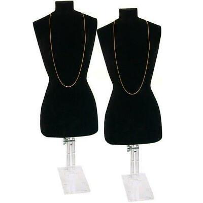 2 Black Necklace Bust Jewelry Body Window Case Displays
