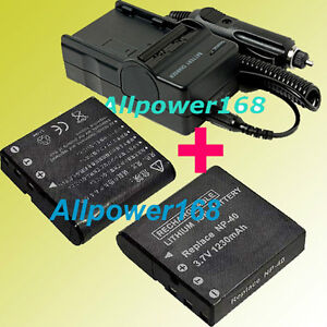 Digital Camera Battery pack + Charger For NP-40 Casio Rechargeable Lithium-ion