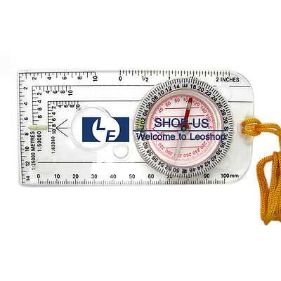 New Pocket Baseplate Map Compass With Declination Scale Survival Outdoor Hiking