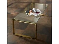 Clear Glass Rectangular Coffee Table With Gold Legs