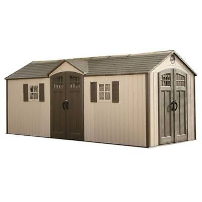 Lifetime Backyard 60127 Outdoor Garden Storage Shed Kit 20x8 Lockable Dual (Entry Shed)
