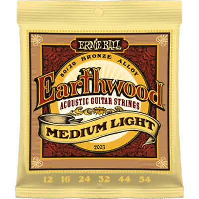 Ernie Ball 2003 Earthwood Acoustic Guitar Strings Med Light 12-054