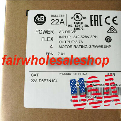 2019 Allen-bradley Powerflex 4 3.7 Kw 5 Hp Ac Drive 22a-d8p7n104 New Sealed