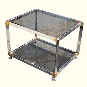 Mid Century Chrome Brass & Glass Bar Cart/Serving Trolley 1970s