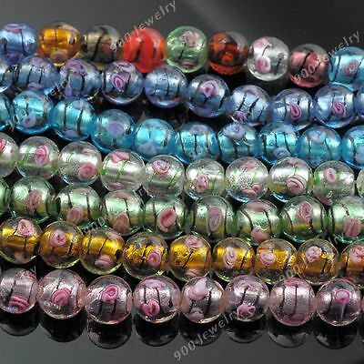 1 Strand Lampwork Glass Rose Flower Round Ball Loose Bead Women Jewelry DIY 12mm
