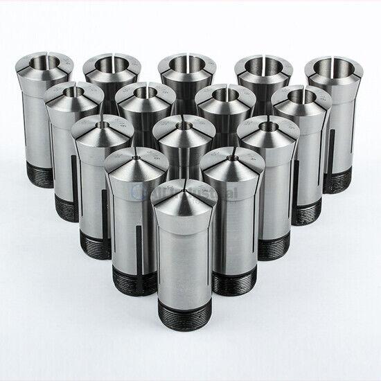 "High Precision 15 Piece 5C Collet Set Fractional 1/8"" - 1"" Capacity TIR 0.0005"""