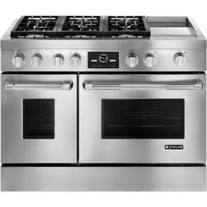 "Jenn-Air JDRP548WP Pro Style 48"" Dual Fuel Gas Range With Convection, 6 Sealed Burners"