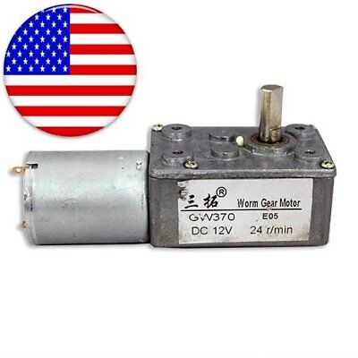 Us Gw370 12v 24rpm Dc Mirco Worm Reduction Geared Motor Low Speed Electric Gear