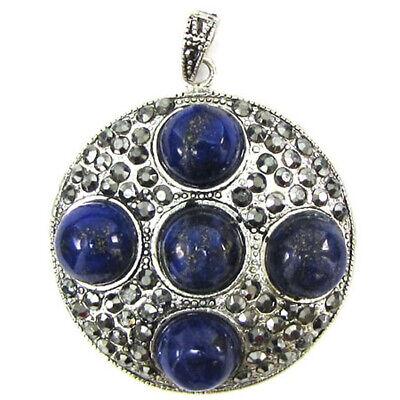 38mm lapis lazuli silver plated coin pendant bead (Lapis Lazuli Coin)