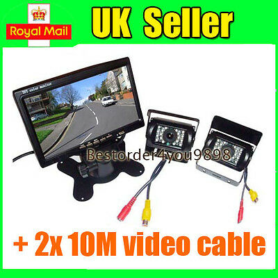 "7"" LCD Monitor Car Rear View Kit + 2x IR Reversing Camera for bus Truck UK"