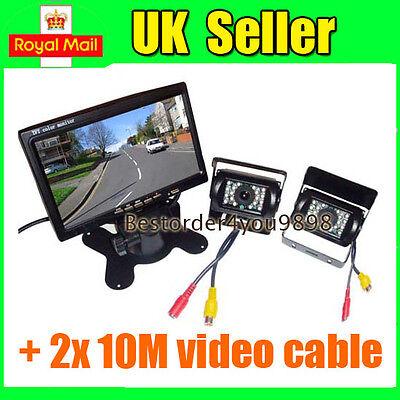 "7"" LCD Monitor Car Rear View Kit + 2x IR Reversing Camera for bus Truck UK"