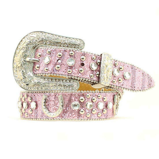 Nocona Pink Sparkle Horseshoe Belt