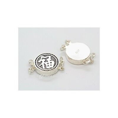 Sterling Silver Round Box Clasp (Sterling Silver Chinese Fortune 2-strand Round Box Clasp 13mm)