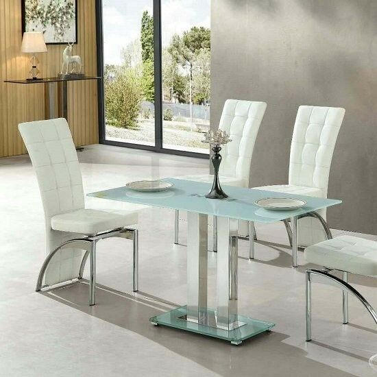 Jet Small Gl Dining Table Rectangular In White 183