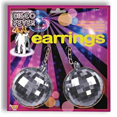Womens Adult 70s 80s Jumbo Disco Ball Costume Earrings Accessory](80s Disco Ball)