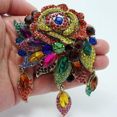 - Fashion Vintage Style Art Deco Flower Rose Brooch Pin Pendant Color Rhinestone