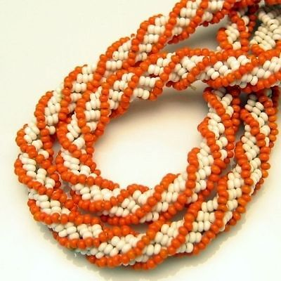 (Vintage Multi Strand Necklace White Coral Glass Seed Beads Torsade)