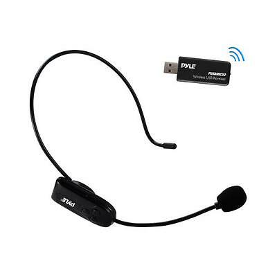 (Pyle Wireless Headset Microphone System with USB Receiver, Rechargeable)