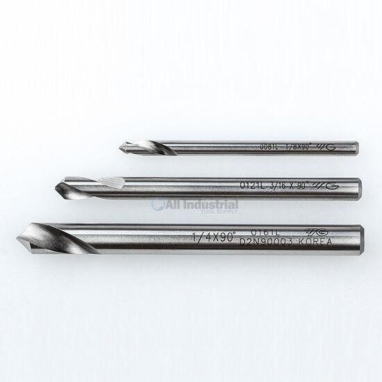 """YG1 NC Spotting Drill 8% Cobalt HSS 1/8, 3/16, 1/4"""" 90 Degree 3 Pc Set CNC"""