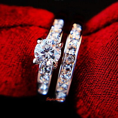 White Gold Plated Engagement Wedding Ring Set Made With Swarovski Crystal R171