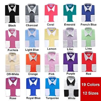 White Collar Cuff (Berlioni Italy White Collar & Cuffs Mens Two Tone Dress Shirt All Colors &)