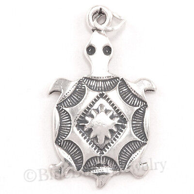 Sterling 925 Charm Pendant - TURTLE SOUTHWESTERN Native American Indian Charm Pendant 925 STERLING SILVER