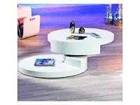 Rotondi Round Swivel White High Gloss Coffee Table