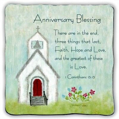 "Anniversary Blessing Standing 5"" Metal Plaque NEW! Boxed Great Gift!"