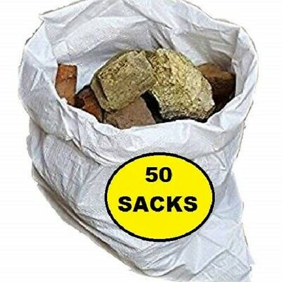 50 x Tough Woven Polypropylene Builder Rubble Sacks Bags. ** ULTRA STRONG **