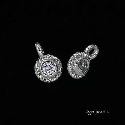Rhodium Plated Charm - 2 Rhodium Plated Sterling Silver CZ Dangle Charm End Tag Beads 5mm #97902