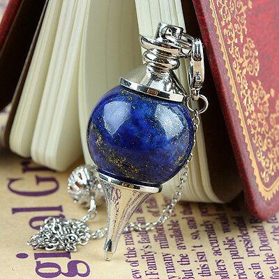 Crystal Lapis Lazuli Gemstone Ball Healing Dowsing Reiki Chakra Pendulum +Chain