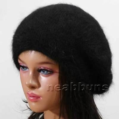 wool BERET beanie Knit winter women Hats Cap ski angora BLACK