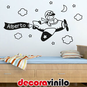 Vinilo decorativo pegatina pared infantil ni o y avi n for Vinilos decorativos pared ninos