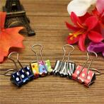 19mm Floral Foldback Binder Clips Metal Grip For Office P...
